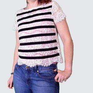 Anthropologie Lace and Velvet Stripe XSP harlyn to